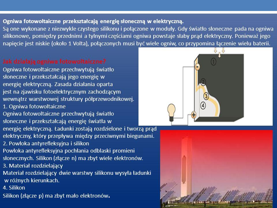 Ogniwa fotowoltaiczne przekształcają energię słoneczną w elektryczną. Są one wykonane z niezwykle czystego silikonu i połączone w moduły. Gdy światło