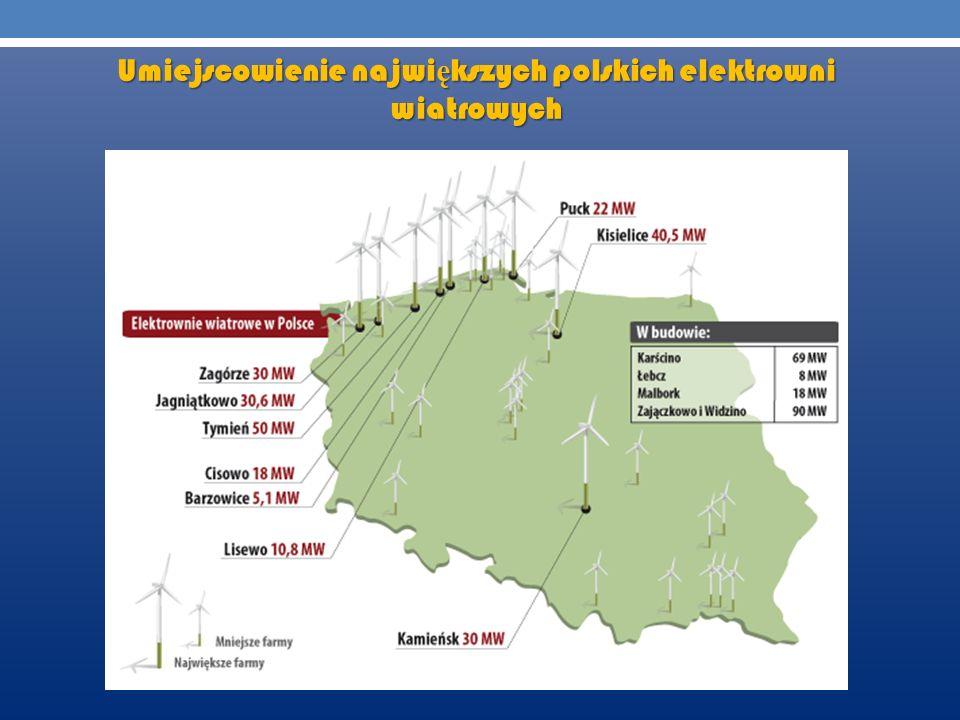 Umiejscowienie najwi ę kszych polskich elektrowni wiatrowych