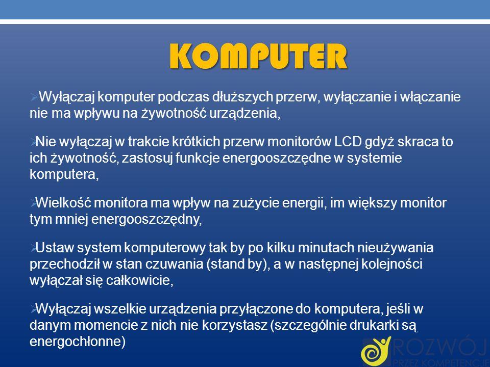 KOMPUTER Wyłączaj komputer podczas dłuższych przerw, wyłączanie i włączanie nie ma wpływu na żywotność urządzenia, Nie wyłączaj w trakcie krótkich prz
