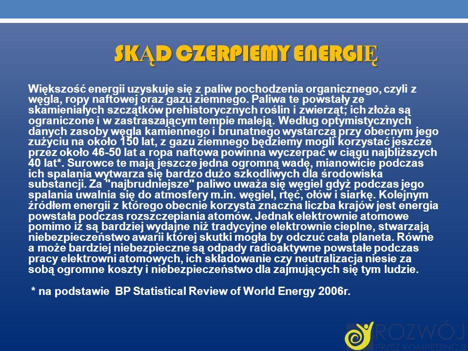 SK Ą D CZERPIEMY ENERGI Ę Większość energii uzyskuje się z paliw pochodzenia organicznego, czyli z węgla, ropy naftowej oraz gazu ziemnego. Paliwa te