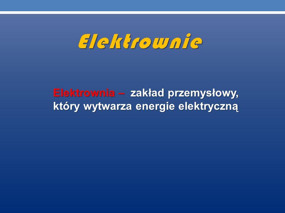 Elektrownie Elektrownia – zakład przemysłowy, który wytwarza energie elektryczną