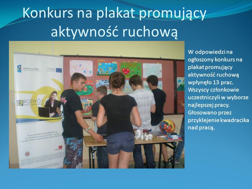 Konkurs na plakat promujący aktywność ruchową W odpowiedzi na ogłoszony konkurs na plakat promujący aktywność ruchową wpłynęło 13 prac.