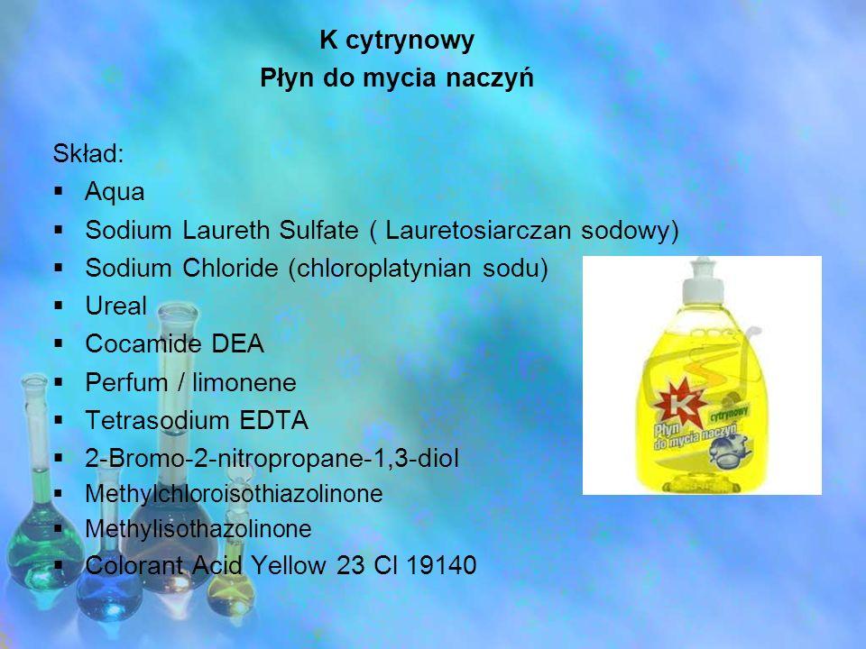 K cytrynowy Płyn do mycia naczyń Skład: Aqua Sodium Laureth Sulfate ( Lauretosiarczan sodowy) Sodium Chloride (chloroplatynian sodu) Ureal Cocamide DE