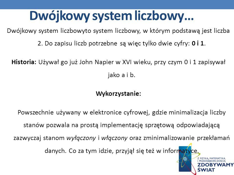 Dwójkowy system liczbowyto system liczbowy, w którym podstawą jest liczba 2.