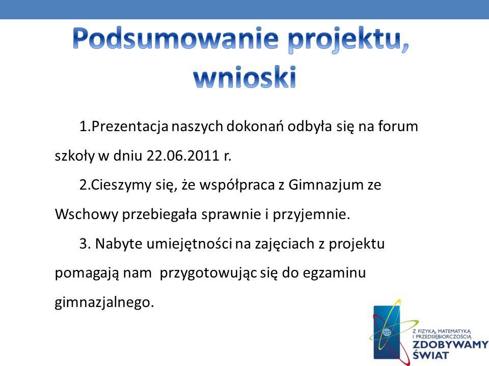 1.Prezentacja naszych dokonań odbyła się na forum szkoły w dniu 22.06.2011 r.