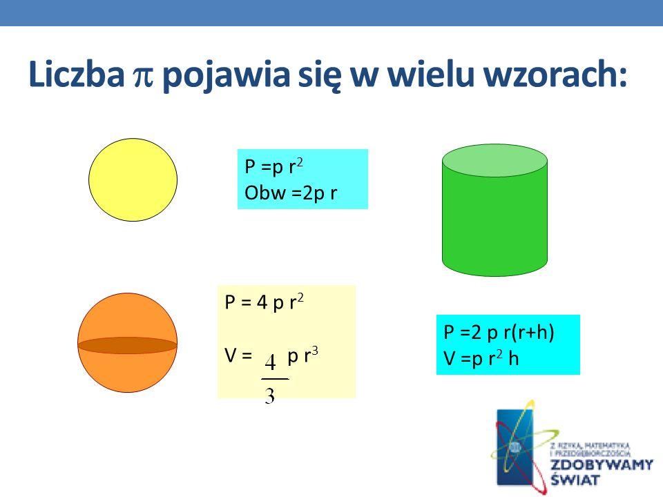 Liczba pojawia się w wielu wzorach: P =p r 2 Obw =2p r P = 4 p r 2 V = p r 3 P =2 p r(r+h) V =p r 2 h