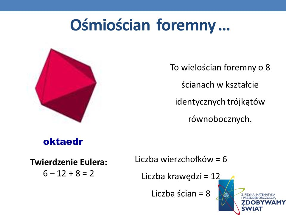 Ośmiościan foremny … oktaedr Twierdzenie Eulera: 6 – 12 + 8 = 2 Liczba wierzchołków = 6 Liczba krawędzi = 12 Liczba ścian = 8 To wielościan foremny o 8 ścianach w kształcie identycznych trójkątów równobocznych.