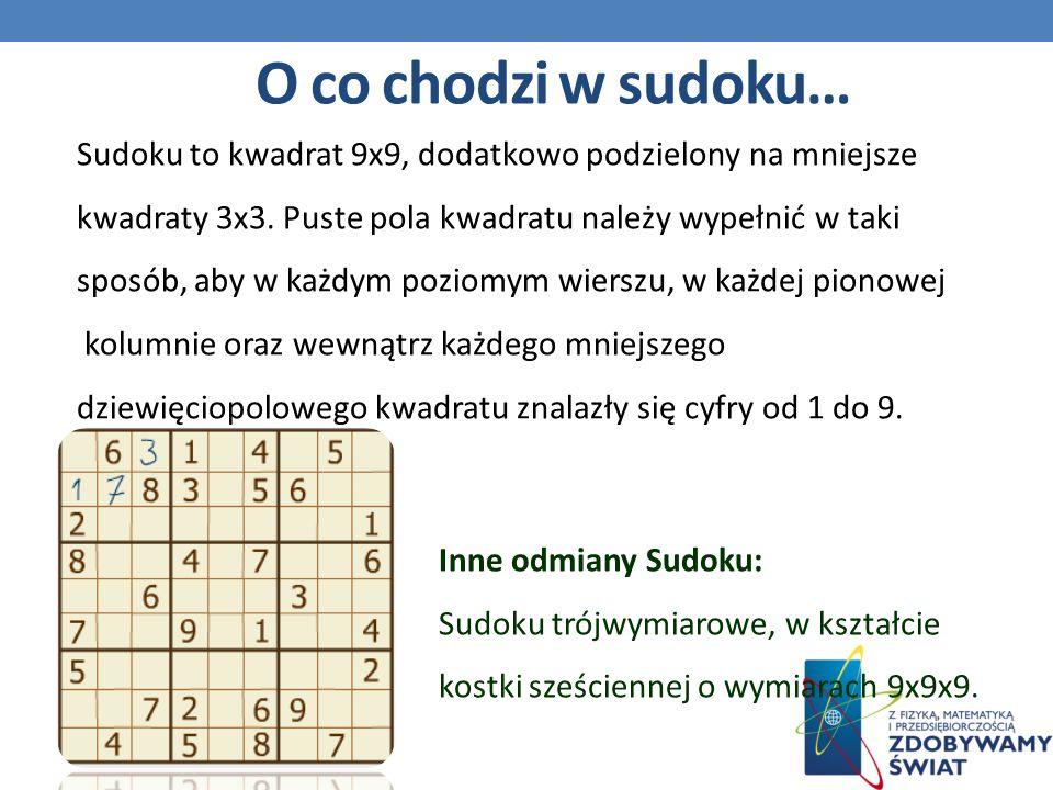 O co chodzi w sudoku… Inne odmiany Sudoku: Sudoku trójwymiarowe, w kształcie kostki sześciennej o wymiarach 9x9x9.