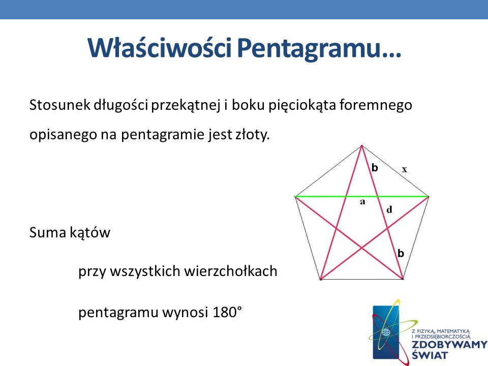 Właściwości Pentagramu… Stosunek długości przekątnej i boku pięciokąta foremnego opisanego na pentagramie jest złoty.