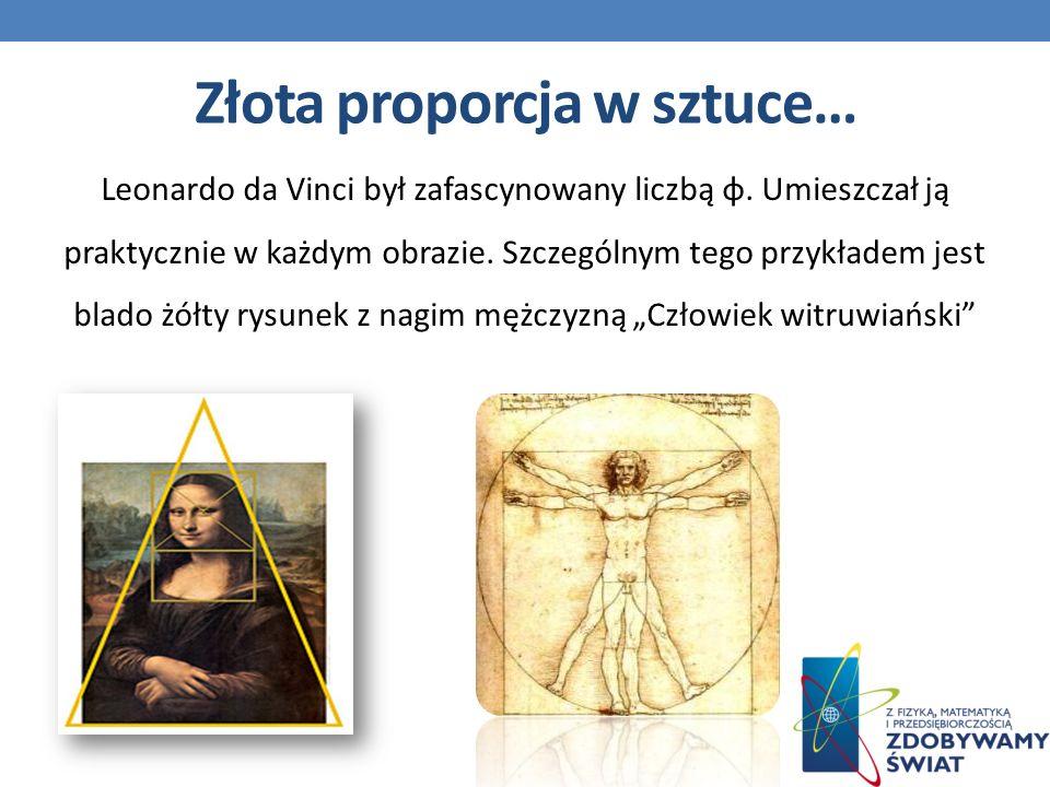Leonardo da Vinci był zafascynowany liczbą φ.Umieszczał ją praktycznie w każdym obrazie.