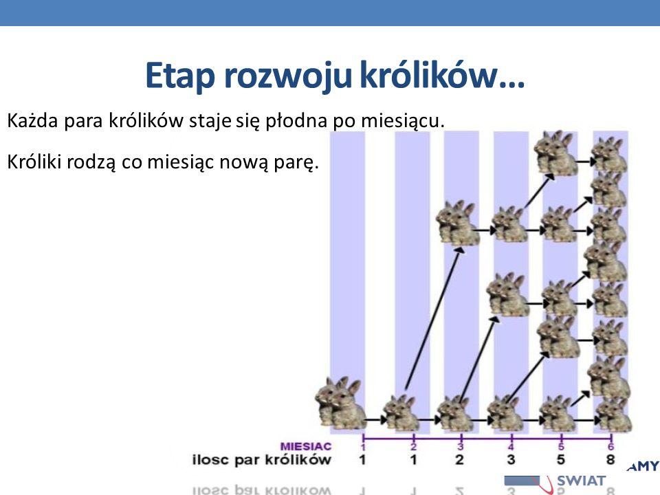 Każda para królików staje się płodna po miesiącu.Króliki rodzą co miesiąc nową parę.