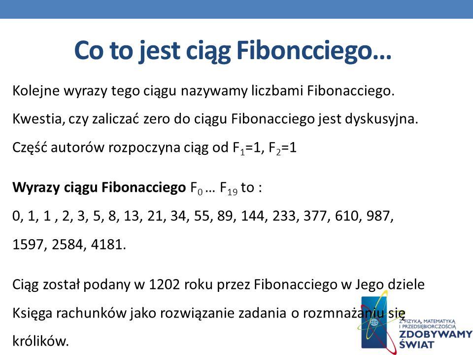 Kolejne wyrazy tego ciągu nazywamy liczbami Fibonacciego.
