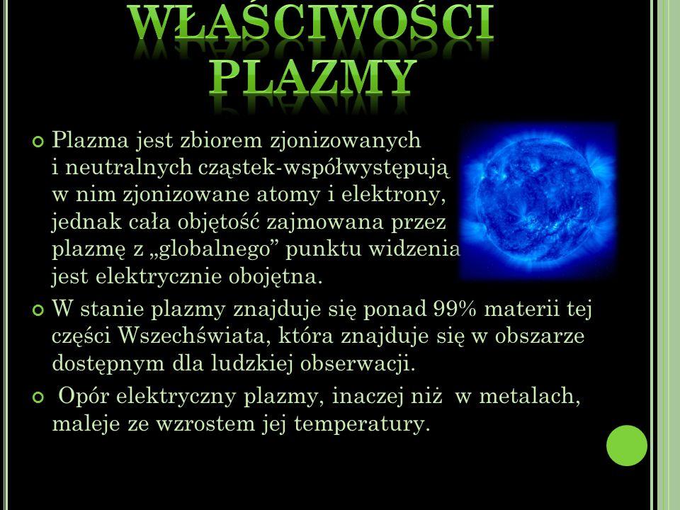 Plazma jest zbiorem zjonizowanych i neutralnych cząstek-współwystępują w nim zjonizowane atomy i elektrony, jednak cała objętość zajmowana przez plazmę z globalnego punktu widzenia jest elektrycznie obojętna.