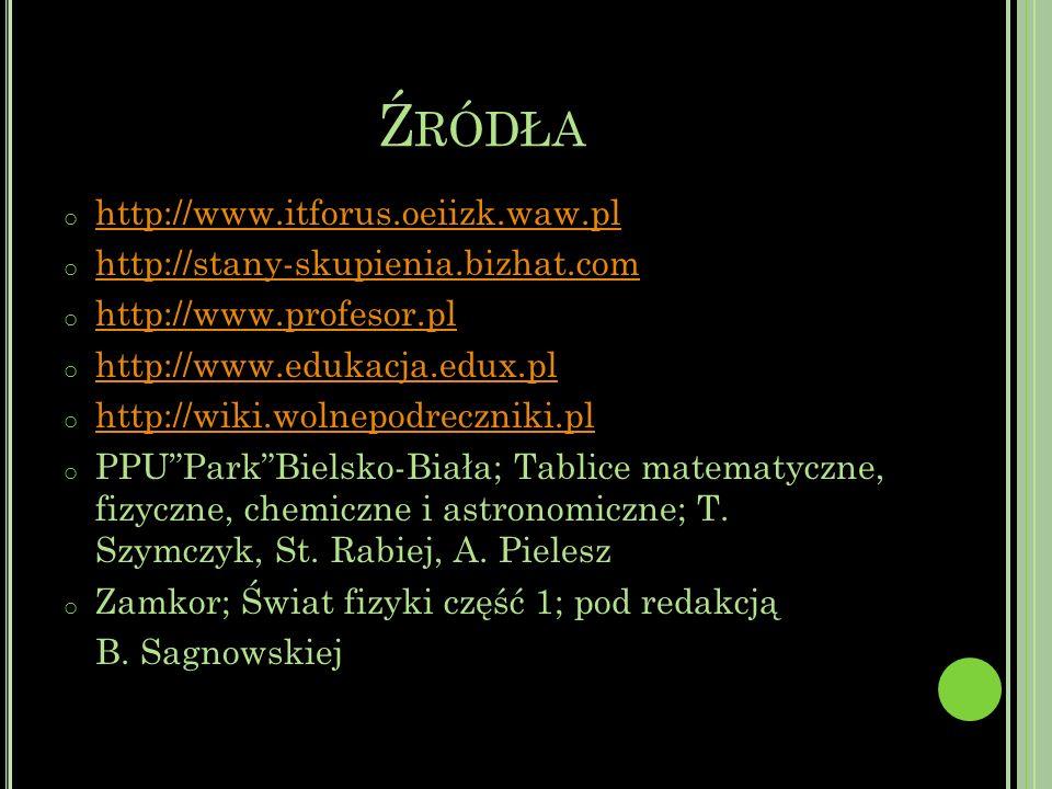 Ź RÓDŁA o http://www.itforus.oeiizk.waw.pl http://www.itforus.oeiizk.waw.pl o http://stany-skupienia.bizhat.com http://stany-skupienia.bizhat.com o http://www.profesor.pl http://www.profesor.pl o http://www.edukacja.edux.pl http://www.edukacja.edux.pl o http://wiki.wolnepodreczniki.pl http://wiki.wolnepodreczniki.pl o PPUParkBielsko-Biała; Tablice matematyczne, fizyczne, chemiczne i astronomiczne; T.