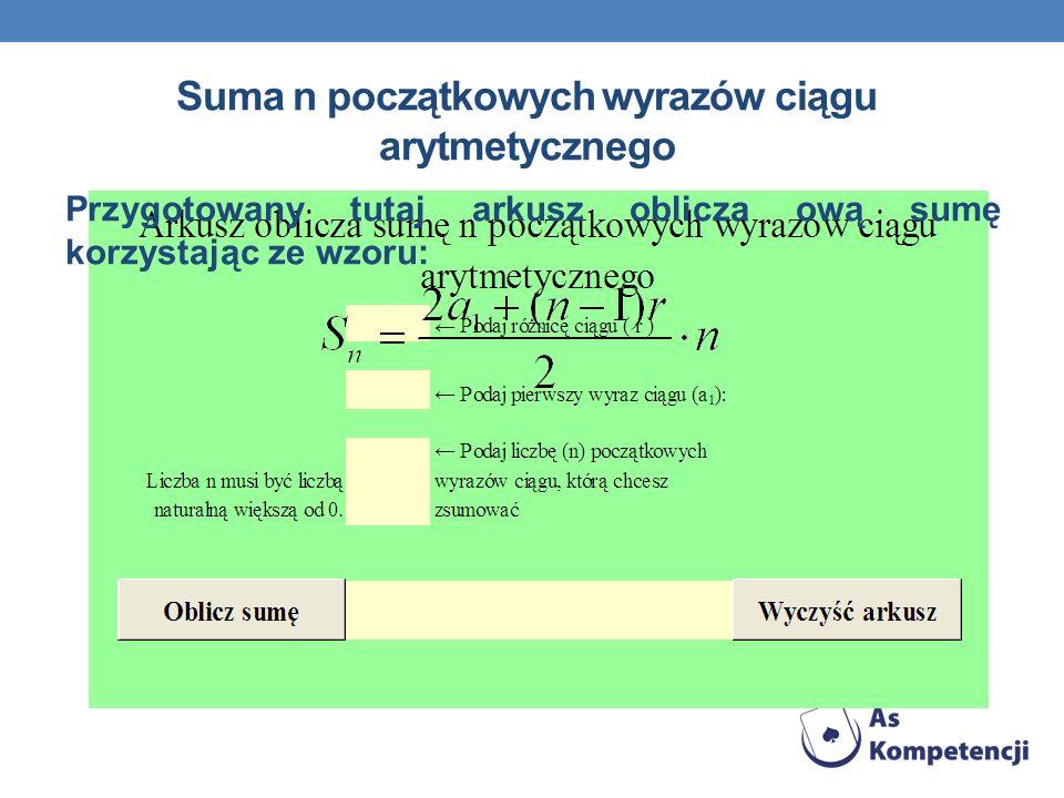 Suma n początkowych wyrazów ciągu arytmetycznego Przygotowany tutaj arkusz oblicza ową sumę korzystając ze wzoru: