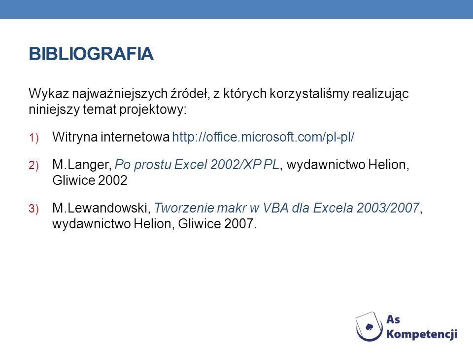 BIBLIOGRAFIA Wykaz najważniejszych źródeł, z których korzystaliśmy realizując niniejszy temat projektowy: 1) Witryna internetowa http://office.microsoft.com/pl-pl/ 2) M.Langer, Po prostu Excel 2002/XP PL, wydawnictwo Helion, Gliwice 2002 3) M.Lewandowski, Tworzenie makr w VBA dla Excela 2003/2007, wydawnictwo Helion, Gliwice 2007.