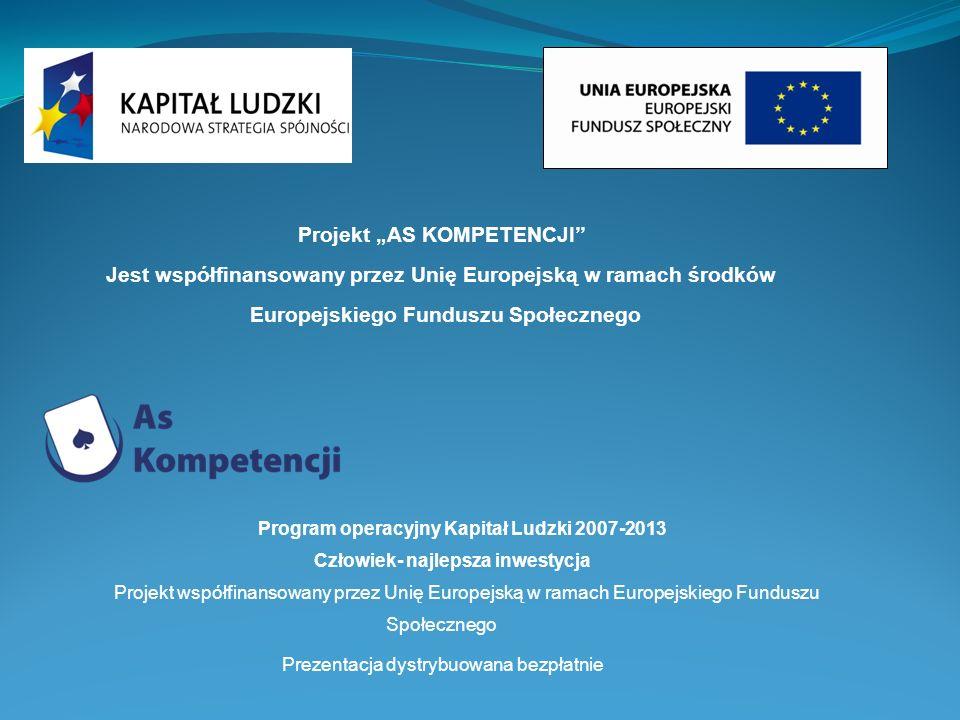 Program operacyjny Kapitał Ludzki 2007-2013 Człowiek- najlepsza inwestycja Projekt współfinansowany przez Unię Europejską w ramach Europejskiego Fundu