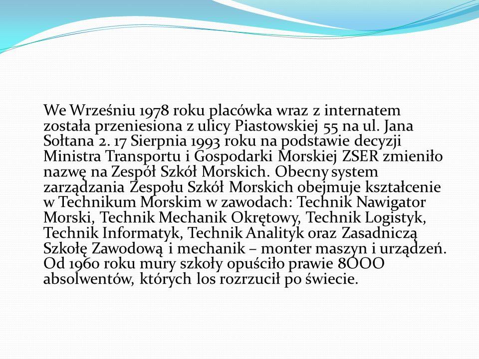 We Wrześniu 1978 roku placówka wraz z internatem została przeniesiona z ulicy Piastowskiej 55 na ul. Jana Sołtana 2. 17 Sierpnia 1993 roku na podstawi