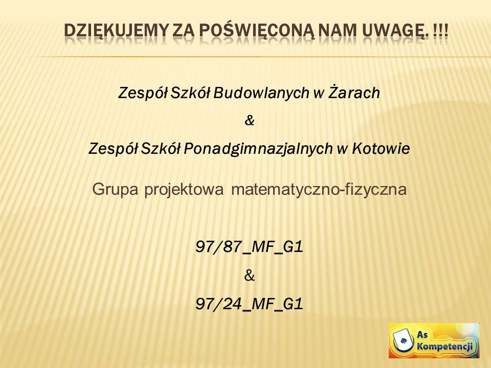 Zespół Szkół Budowlanych w Żarach & Zespół Szkół Ponadgimnazjalnych w Kotowie Grupa projektowa matematyczno-fizyczna 97/87_MF_G1 & 97/24_MF_G1