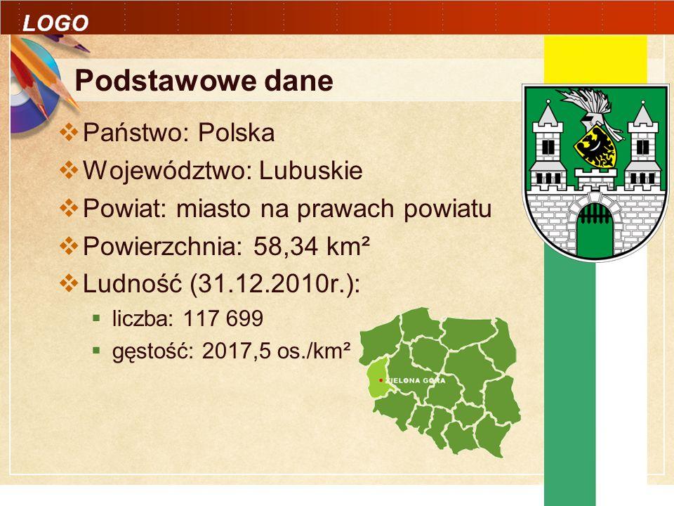 Click to edit Master text styles LOGO Podstawowe dane Państwo: Polska Województwo: Lubuskie Powiat: miasto na prawach powiatu Powierzchnia: 58,34 km² Ludność (31.12.2010r.): liczba: 117 699 gęstość: 2017,5 os./km²