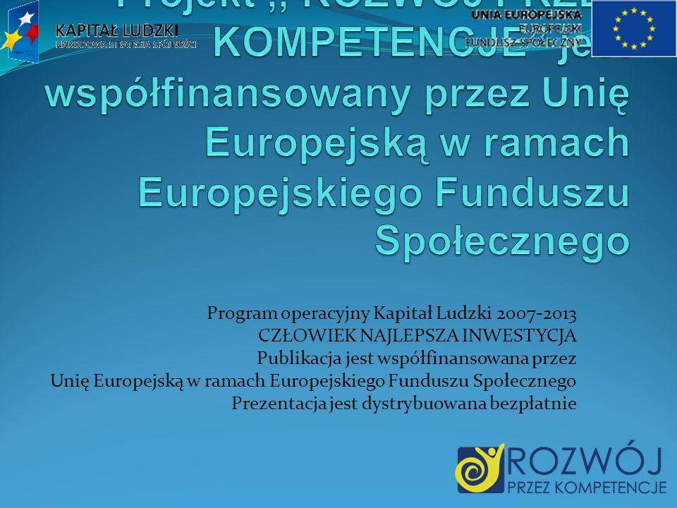 Program operacyjny Kapitał Ludzki 2007-2013 CZŁOWIEK NAJLEPSZA INWESTYCJA Publikacja jest współfinansowana przez Unię Europejską w ramach Europejskiego Funduszu Społecznego Prezentacja jest dystrybuowana bezpłatnie