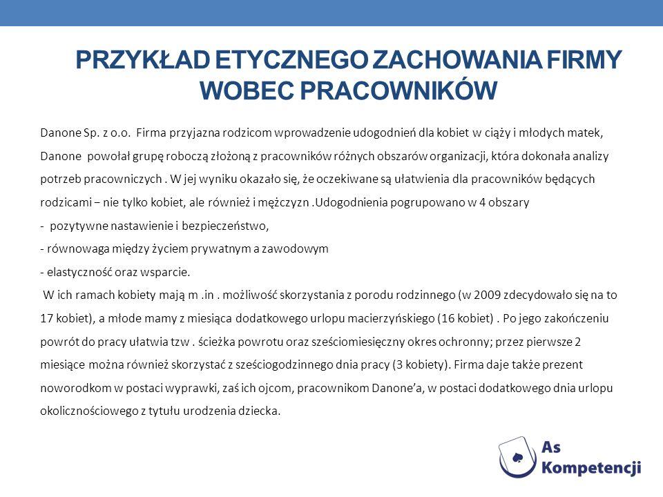 PRZYKŁAD ETYCZNEGO ZACHOWANIA FIRMY WOBEC PRACOWNIKÓW Danone Sp.