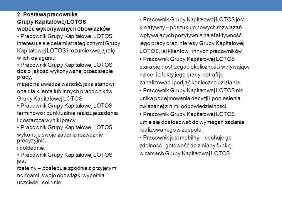 Pracownik Grupy Kapitałowej LOTOS jest kreatywny – poszukuje nowych rozwiązań wpływających pozytywnie na efektywność jego pracy oraz interesy Grupy Kapitałowej LOTOS, jej klientów i innych pracowników.