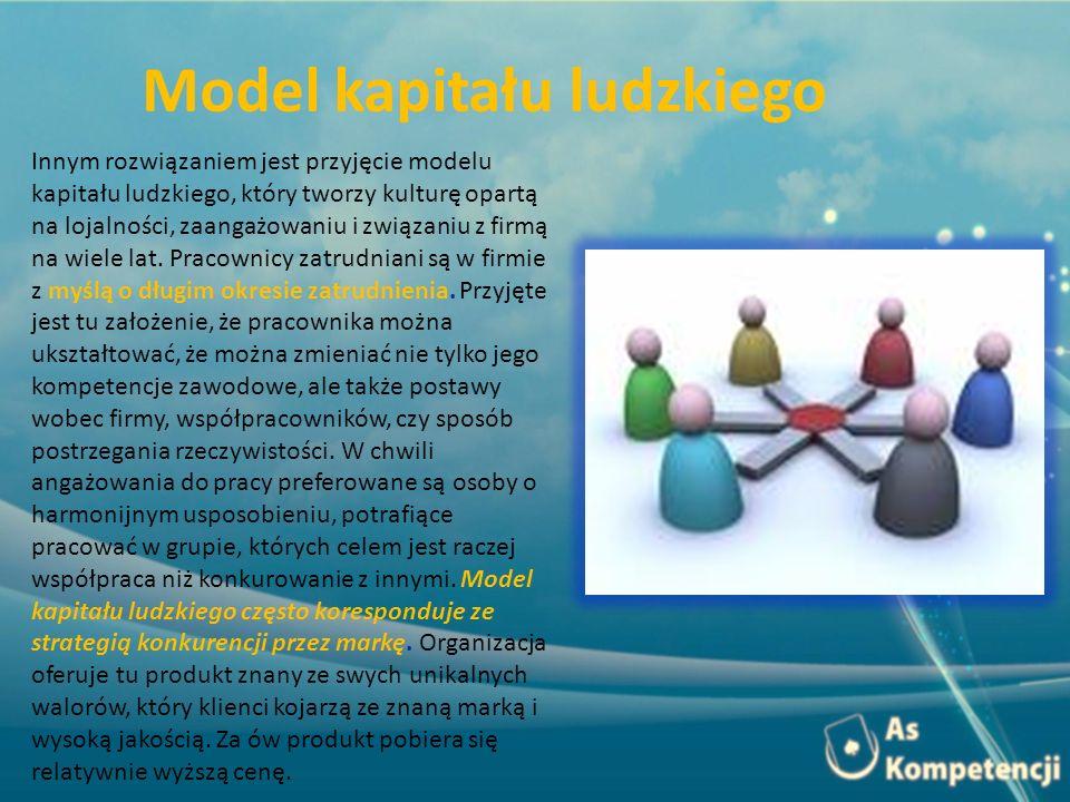 Model kapitału ludzkiego Innym rozwiązaniem jest przyjęcie modelu kapitału ludzkiego, który tworzy kulturę opartą na lojalności, zaangażowaniu i związaniu z firmą na wiele lat.