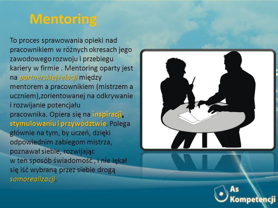 partnerskiej relacji To proces sprawowania opieki nad pracownikiem w różnych okresach jego zawodowego rozwoju i przebiegu kariery w firmie. Mentoring