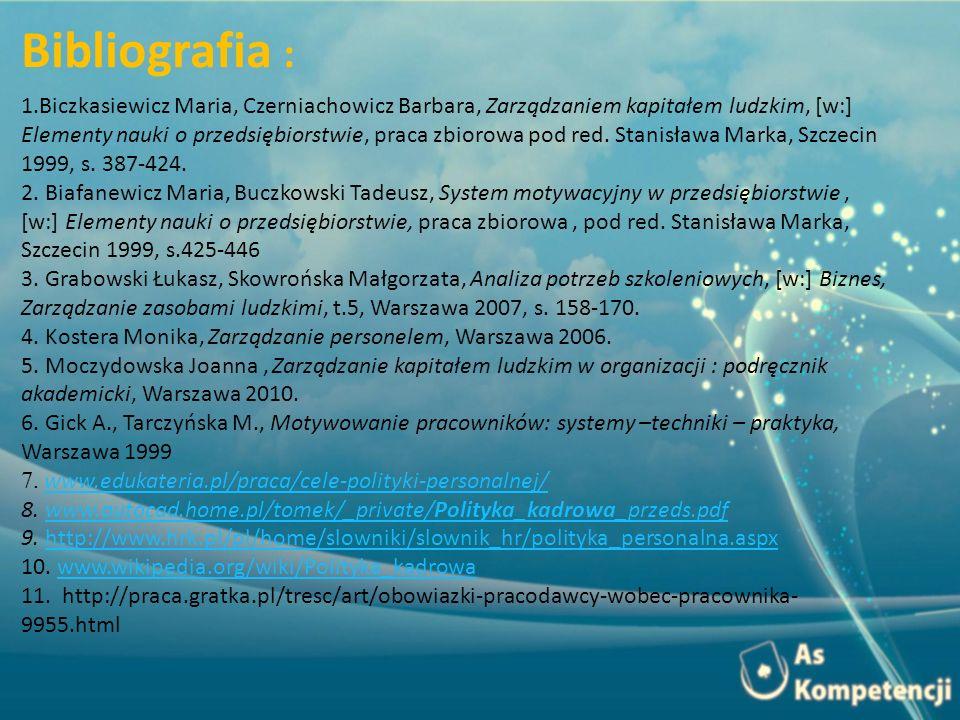 1.Biczkasiewicz Maria, Czerniachowicz Barbara, Zarządzaniem kapitałem ludzkim, [w:] Elementy nauki o przedsiębiorstwie, praca zbiorowa pod red.
