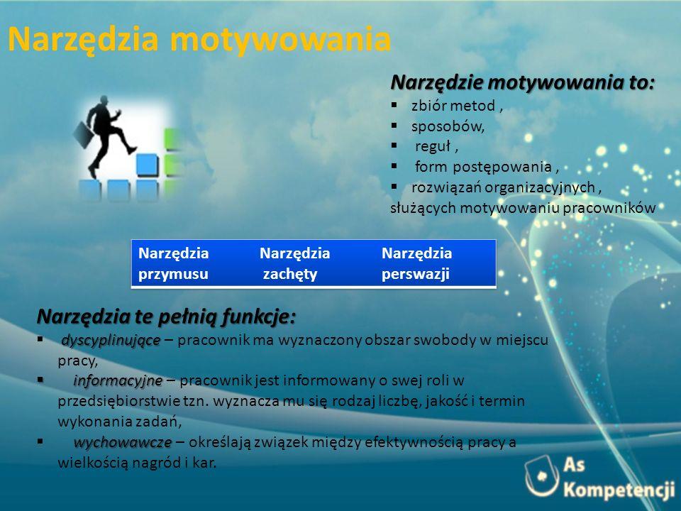Narzędzie motywowania to: zbiór metod, sposobów, reguł, form postępowania, rozwiązań organizacyjnych, służących motywowaniu pracowników Narzędzia te p