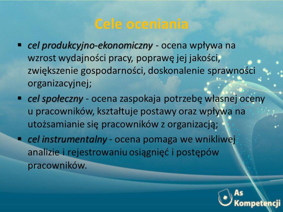 Cele oceniania cel produkcyjno-ekonomiczny cel produkcyjno-ekonomiczny - ocena wpływa na wzrost wydajności pracy, poprawę jej jakości, zwiększenie gos