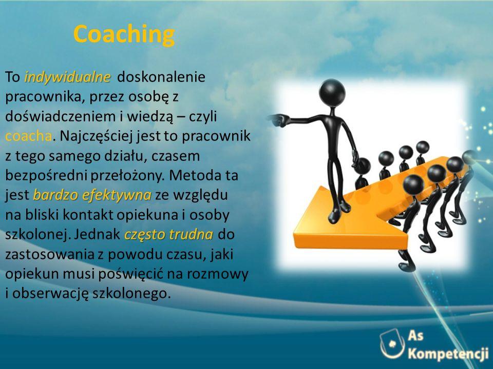 indywidualne bardzo efektywna To indywidualne doskonalenie pracownika, przez osobę z doświadczeniem i wiedzą – czyli coacha. Najczęściej jest to praco