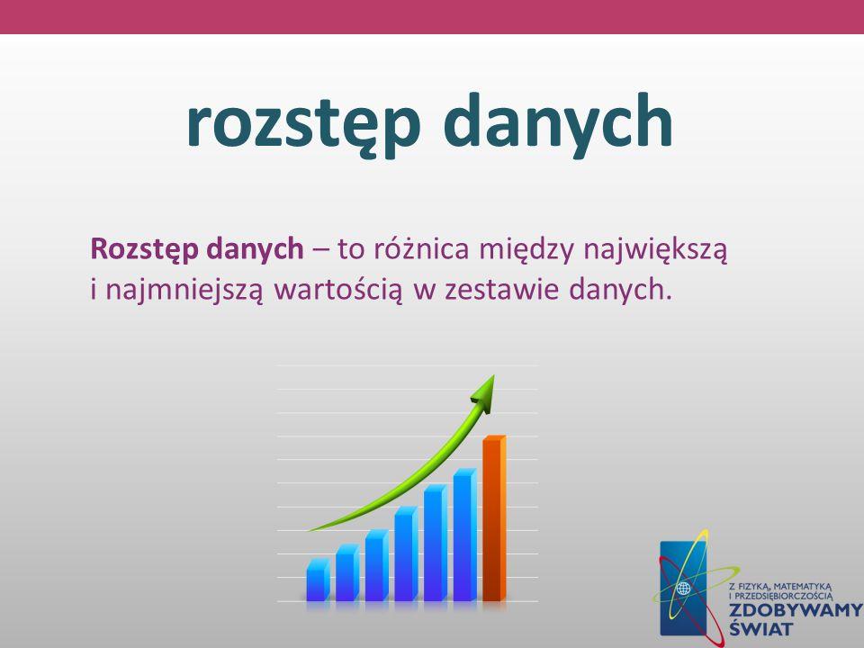 rozstęp danych Rozstęp danych – to różnica między największą i najmniejszą wartością w zestawie danych.