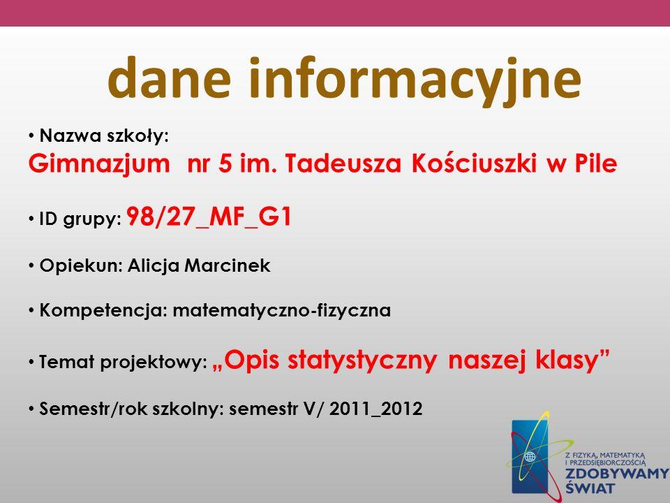 Nazwa szkoły: Gimnazjum nr 5 im. Tadeusza Kościuszki w Pile ID grupy: 98/27_MF_G1 Opiekun: Alicja Marcinek Kompetencja: matematyczno-fizyczna Temat pr