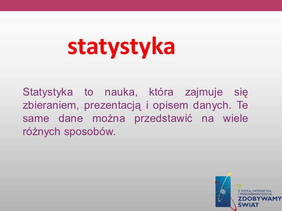 statystyka Statystyka to nauka, która zajmuje się zbieraniem, prezentacją i opisem danych. Te same dane można przedstawić na wiele różnych sposobów.