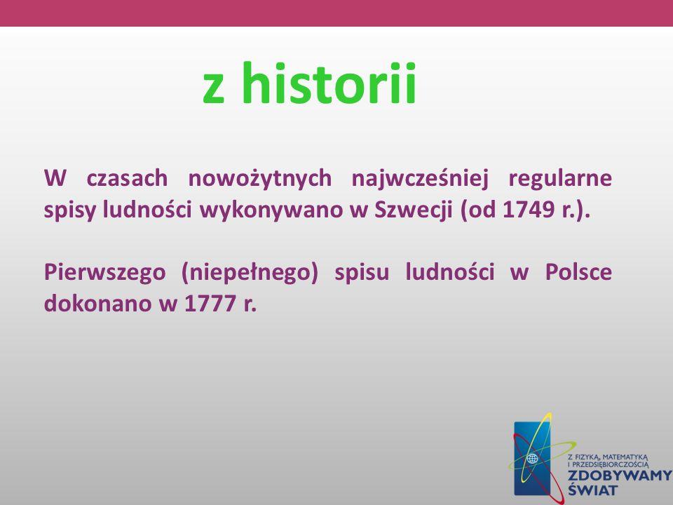 z historii W czasach nowożytnych najwcześniej regularne spisy ludności wykonywano w Szwecji (od 1749 r.). Pierwszego (niepełnego) spisu ludności w Pol