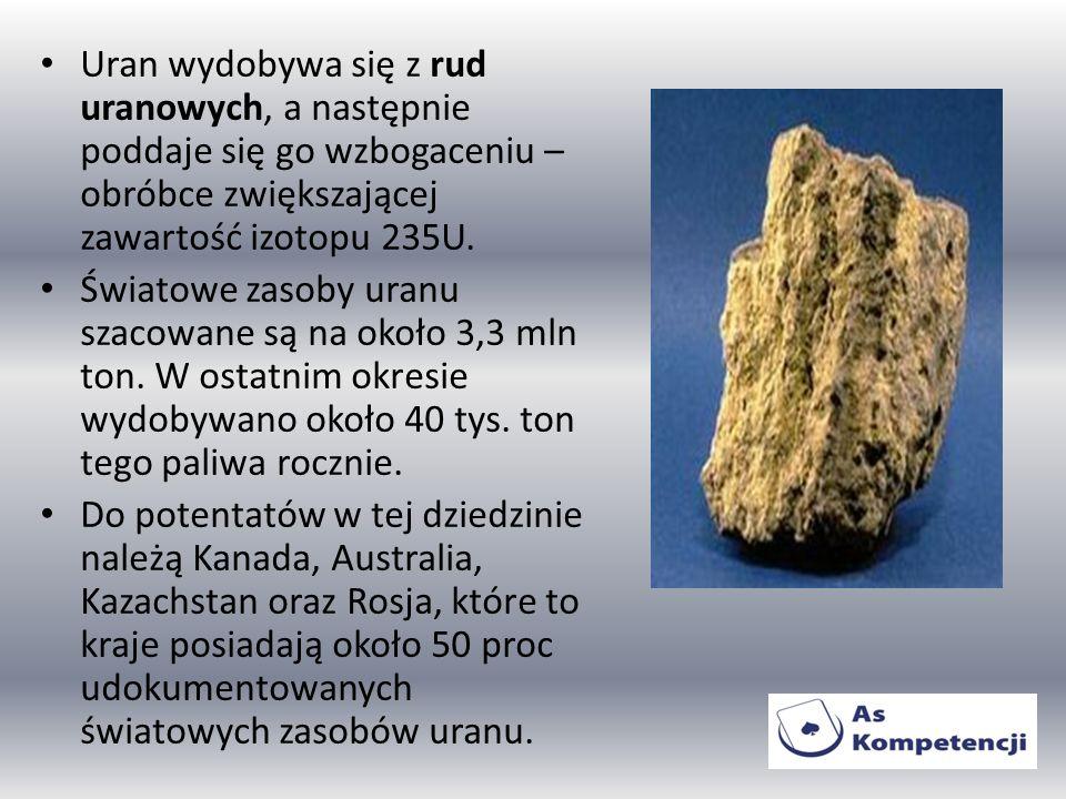 Uran wydobywa się z rud uranowych, a następnie poddaje się go wzbogaceniu – obróbce zwiększającej zawartość izotopu 235U. Światowe zasoby uranu szacow