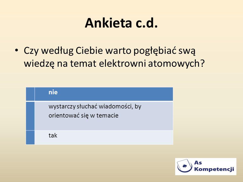 Ankieta c.d. Czy według Ciebie warto pogłębiać swą wiedzę na temat elektrowni atomowych? nie wystarczy słuchać wiadomości, by orientować się w temacie