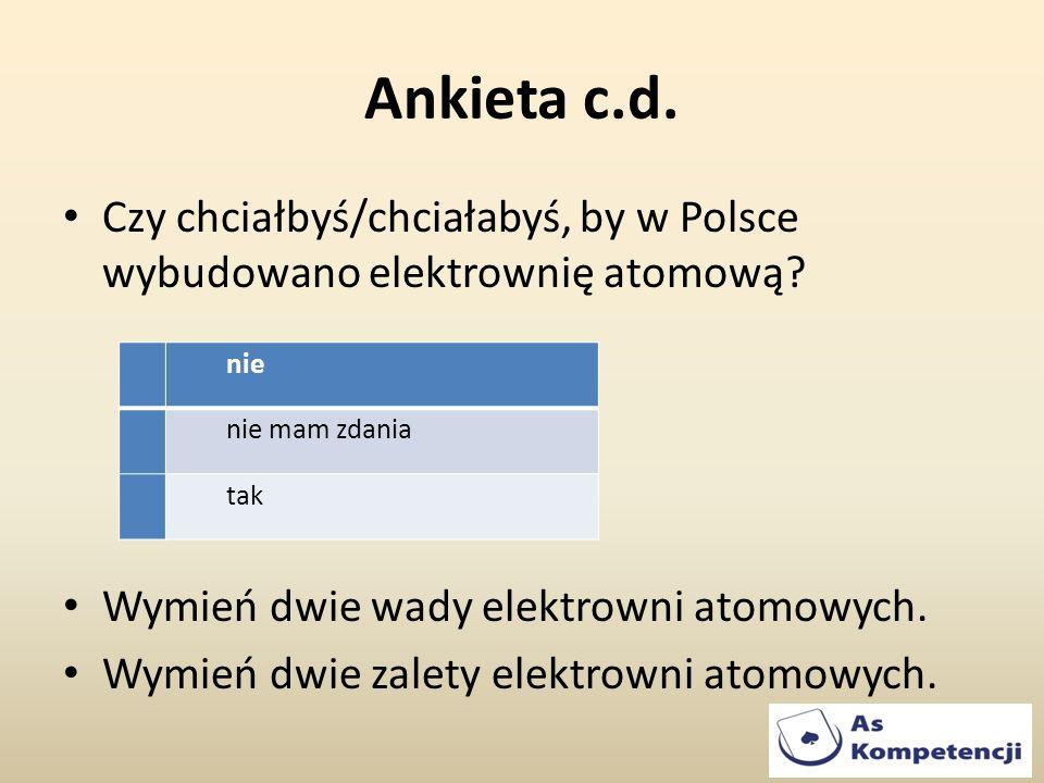 Ankieta c.d. Czy chciałbyś/chciałabyś, by w Polsce wybudowano elektrownię atomową? Wymień dwie wady elektrowni atomowych. Wymień dwie zalety elektrown