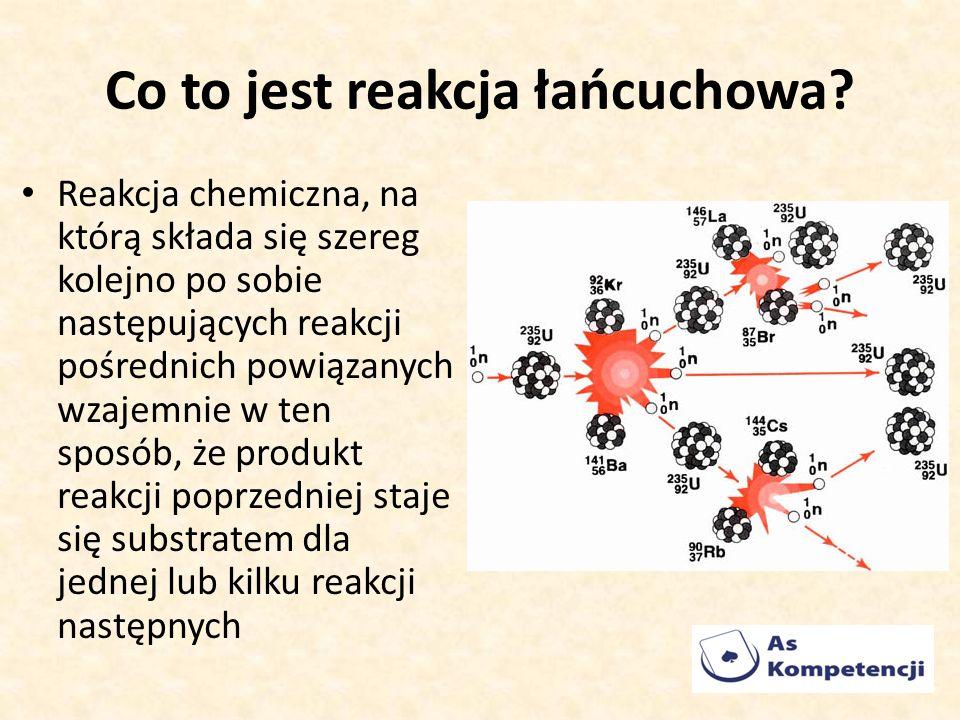 Co to jest reakcja łańcuchowa? Reakcja chemiczna, na którą składa się szereg kolejno po sobie następujących reakcji pośrednich powiązanych wzajemnie w