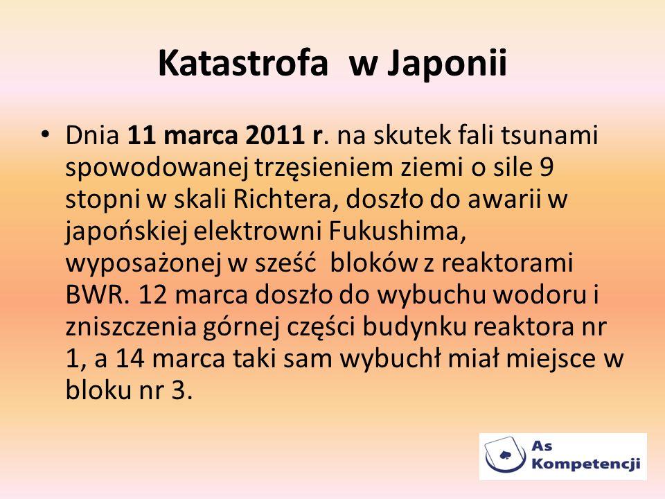 Katastrofa w Japonii Dnia 11 marca 2011 r. na skutek fali tsunami spowodowanej trzęsieniem ziemi o sile 9 stopni w skali Richtera, doszło do awarii w