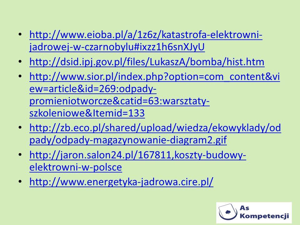 http://www.eioba.pl/a/1z6z/katastrofa-elektrowni- jadrowej-w-czarnobylu#ixzz1h6snXJyU http://www.eioba.pl/a/1z6z/katastrofa-elektrowni- jadrowej-w-cza