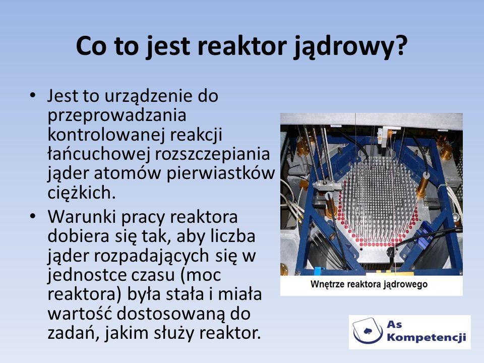 Co to jest reaktor jądrowy? Jest to urządzenie do przeprowadzania kontrolowanej reakcji łańcuchowej rozszczepiania jąder atomów pierwiastków ciężkich.