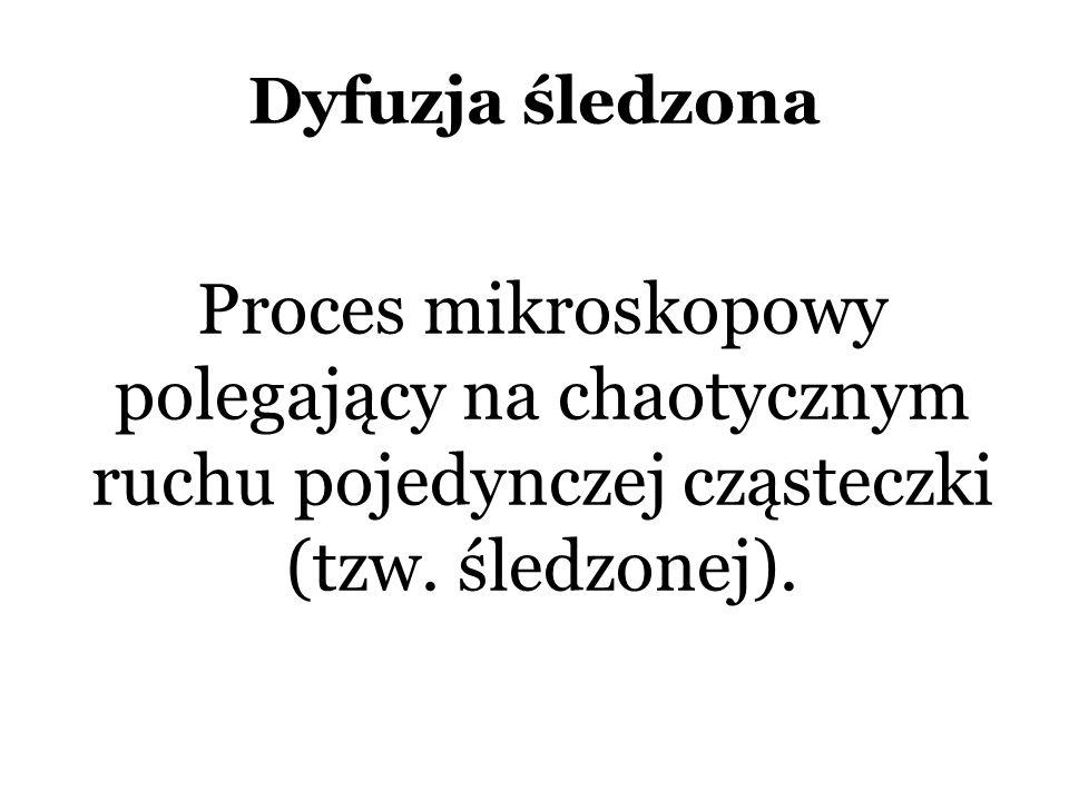 Dyfuzja śledzona Proces mikroskopowy polegający na chaotycznym ruchu pojedynczej cząsteczki (tzw.