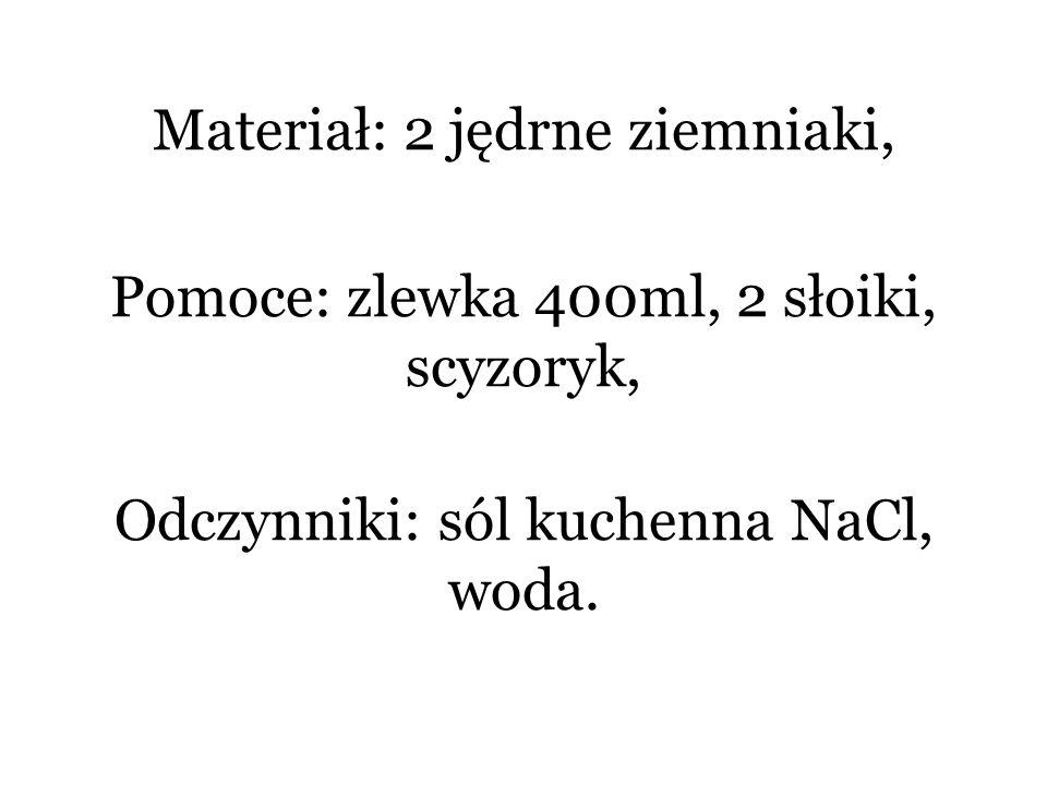 Materiał: 2 jędrne ziemniaki, Pomoce: zlewka 400ml, 2 słoiki, scyzoryk, Odczynniki: sól kuchenna NaCl, woda.