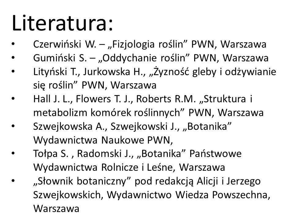 Literatura: Czerwiński W. – Fizjologia roślin PWN, Warszawa Gumiński S. – Oddychanie roślin PWN, Warszawa Lityński T., Jurkowska H., Żyzność gleby i o