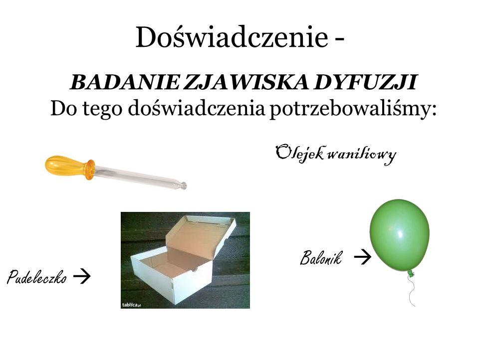 Doświadczenie - BADANIE ZJAWISKA DYFUZJI Do tego doświadczenia potrzebowaliśmy: Olejek waniliowy Pudeleczko Balonik