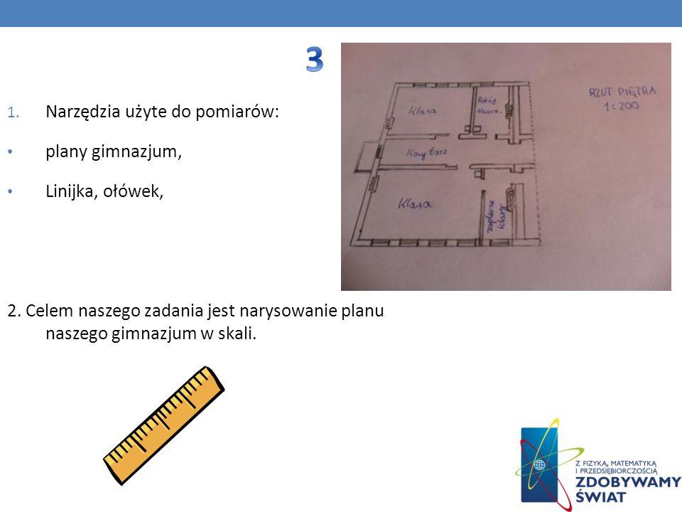 1. Narzędzia użyte do pomiarów: plany gimnazjum, Linijka, ołówek, 2. Celem naszego zadania jest narysowanie planu naszego gimnazjum w skali.
