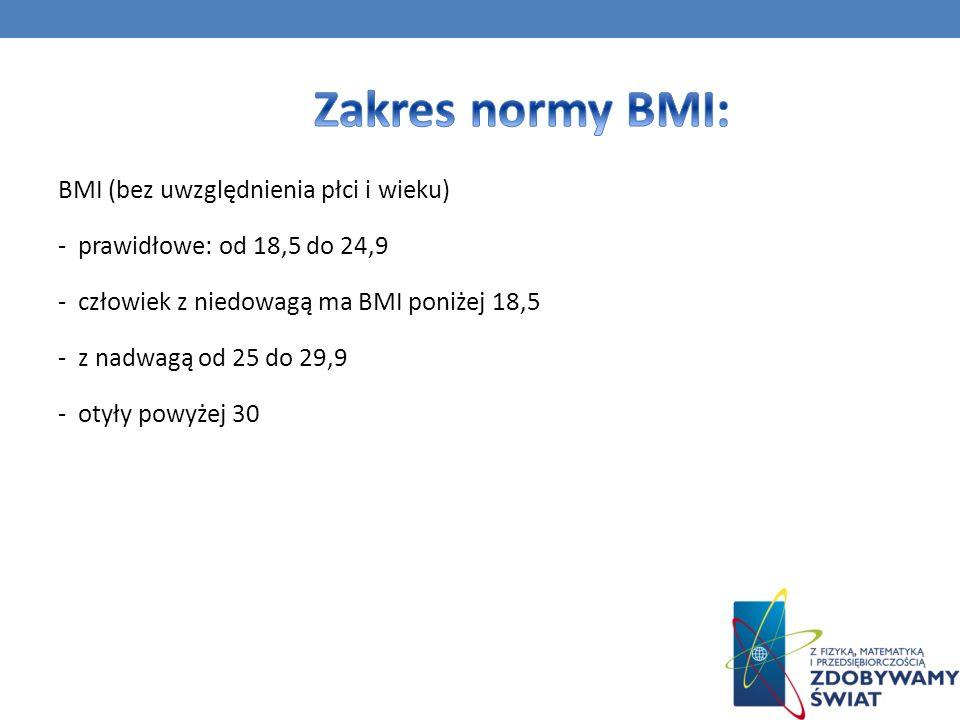 BMI (bez uwzględnienia płci i wieku) - prawidłowe: od 18,5 do 24,9 - człowiek z niedowagą ma BMI poniżej 18,5 - z nadwagą od 25 do 29,9 - otyły powyże